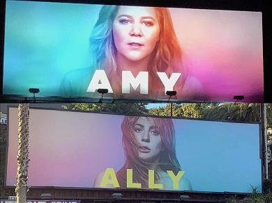 Amy Schumer Pays Humorous Homage to Lady Gaga's 'A Star is Born' Billboard