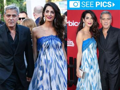 Amal Clooney is True Blue at Husband's Big Hollywood Premiere