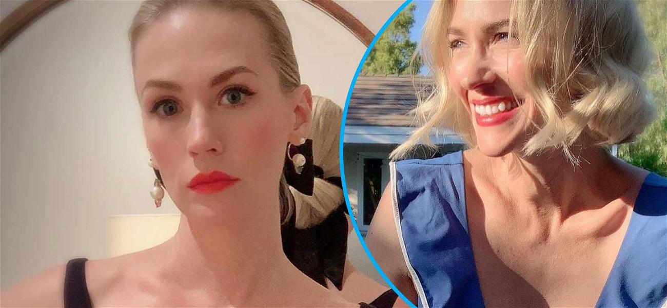 January Jones Chases Your Blues Away With Cute Suit And Gorgeous Smile