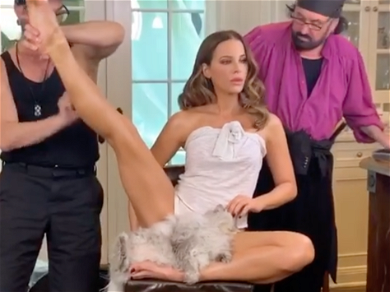 Kate Beckinsale Shows Off Her Amazing Flexibility During Extreme Glam Session