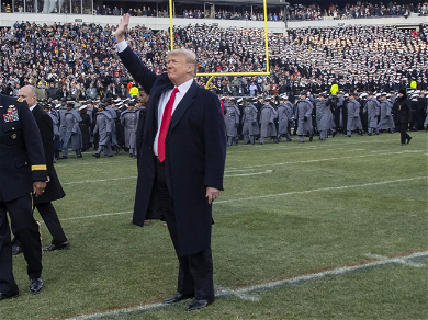 """President Donald Trump Gets Standing Ovation At Army/Navy Game — Crowd Chants """"U.S.A"""""""