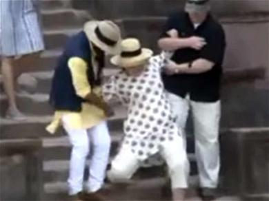 Hillary Clinton Slips Down Palace Stairs in India!