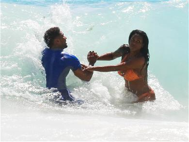 Kenya Moore and Husband on the Beach in Barbados