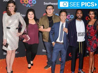 Gael García Bernal, Idina Menzel & Benjamin Bratt on the Orange Carpet at 'Coco' Premiere