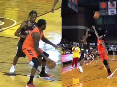 Travis Scott Lets It Rain Over Meek Mill During James Harden Basketball Game