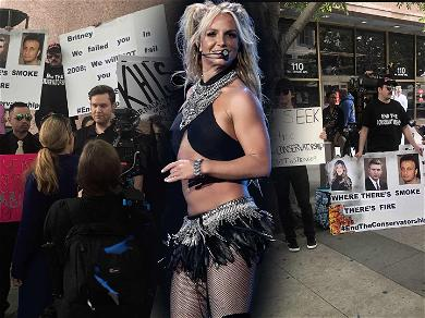 Britney Spears Arrives at Court for Conservatorship Hearing as Fans Protest Outside