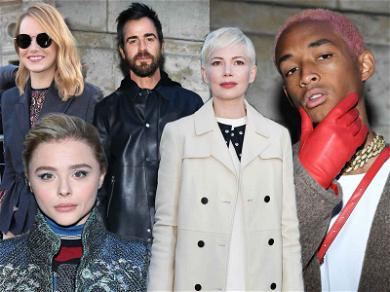 Newly Single Justin Theroux Attends Paris Fashion Week With Emma Stone, Michelle Williams