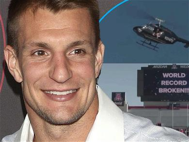 Rob Gronkowski Catches 600-Foot Pass From Helicopter To Break Guinness World Record