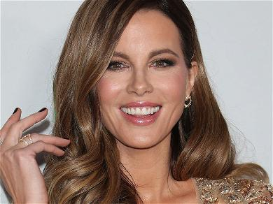 Kate Beckinsale Spreads Legs With A Cat Down Her Shirt