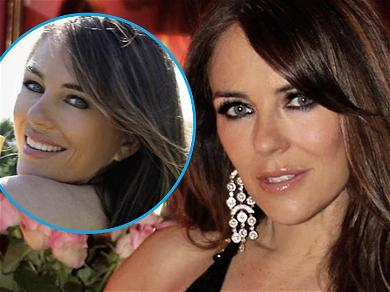 Elizabeth Hurley Ditches Bikini Top To Oil Herself Up