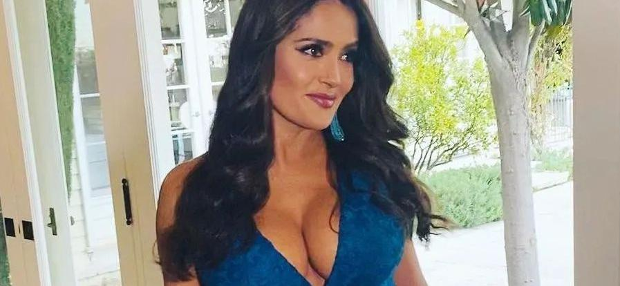 Salma Hayek Arches Back In Dripping-Wet Swimsuit