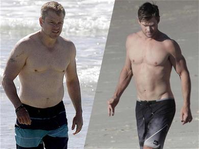 Chris Hemsworth & Matt Damon Put Their Dad Bods on Display