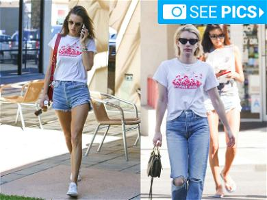 Emma Roberts and Alessandra Ambrosio 'Marchin' in Matching Tees