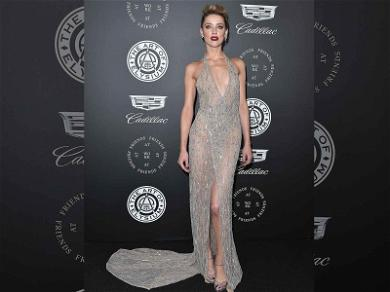 Amber Heard Stuns in Plunging Sheer Dress