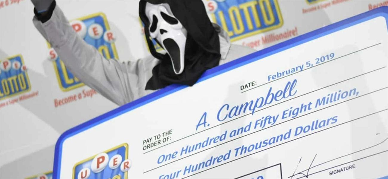Genius Lottery Winner Wears 'Scream' Mask While Collecting Giant Check